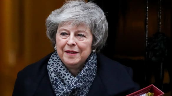 Theresa May, U.K. prime minister, departs from number 10 Downing Street to attend a weekly questions and answers session at Parliament in London, U.K., on Wednesday, Jan. 16, 2019. The U.K. stands at its most dangerous crossroads in decades after Parliament emphatically rejectedMay'sBrexit deal and left her facing an uncomfortable vote to oust her government. Photographer: Simon Dawson/Bloomberg