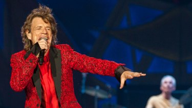 Mick Jagger of the Rolling Stones performs at the Indianapolis Motor Speedway in Indianapolis, Indiana.
