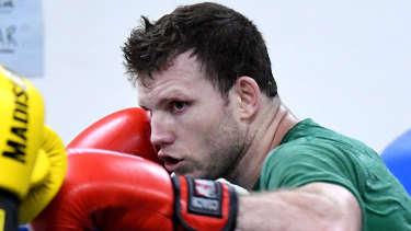Jeff Horn training at the Stretton Boxing Club earlier this month.