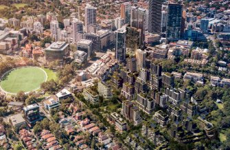 """An artist's impression of the """"St Leonards South"""" precinct, showing nearly 2000 homes in buildings up to 19 storeys high in the bottom right."""
