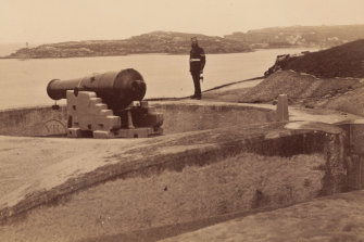 The Middle Head battery as it looked in 1885.