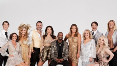 The 2019 cast of <i>Dancing with the Stars</I>: Jimmy Rees (left), Cassandra Thorburn, Constance Hall, Miguel Maestre, Olympia Valance, Sir Curtly Ambrose, Michelle Bridges, Denise Scott, Samuel Johnson, Courtney Act and Jett Kenny.