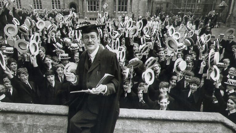 Peter O'Toole as the teacher in the film Goodbye, Mr Chips.