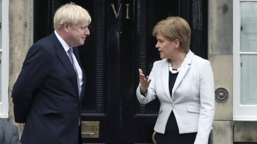 Scotland's First Minister Nicola Sturgeon greets Britain's Prime Minister Boris Johnson.