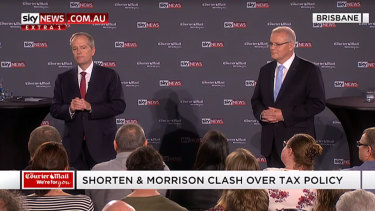 Bill Shorten and Scott Morrison face off in Brisbane.