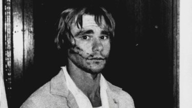 Gary Murphy at Blacktown Police Station after his arrest in in February 1986.