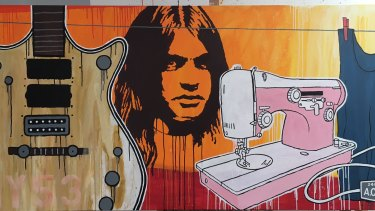 David Bowers' mural of AC/DC's late guitarist Malcolm Young features on a Collingwood office building.