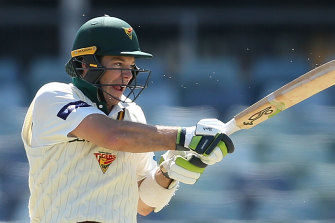 Tim Paine scored a century for Tasmania in the Sheffield Shield, his third at first-class level.