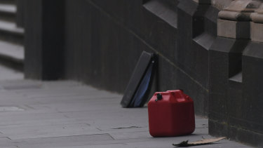 A jerry can sits out the front of Parliament House.