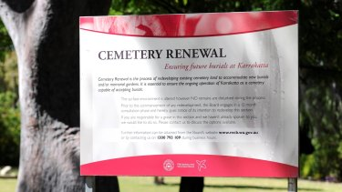 The plan to renew a section of the cemetery is advertised at the site.