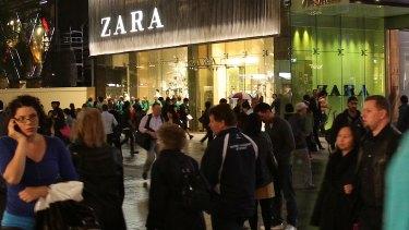 Late-night shoppers in Sydney's Pitt Street Mall.