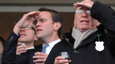 James Murdoch and Rupert Murdoch enjoying a day at the races in 2010.
