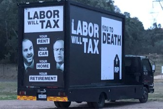 A Liberal Party campaign truck in the Australian Capital Territory in 2019.