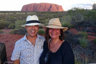 Kris Ferguson and his wife Marcia Ferguson-Roa at Uluru in 2017.