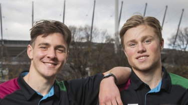 Errol Gulden (L) and Braeden Campbell, from the Sydney Swans academy, have caught the eye of recruiters.