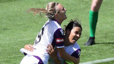 Dynamic duo: Sam Kerr celebrates a goal with her Perth Glory strike partner Rachel Hill.
