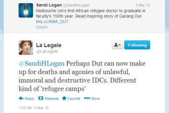 One of LaLegale's tweets that the then Immigration Department said amounted to misconduct.