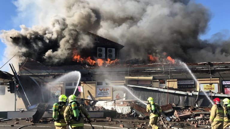 Fire engulfs the General Gordon Hotel in Sydenham on Monday.