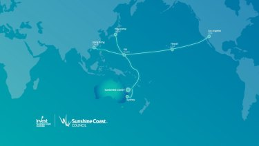 The undersea fibre optic cable that would run into the Sunshine Coast, providing Australia's fastest telecommunications connection to Asia.