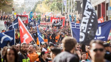 An estimated 120,000 members of the trade union movement marched through Melbourne's streets for the ACTU's recent Change the Rules rally.