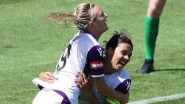 Dynamic duo: Sam Kerr celebrates a goal with her Perth Glory strike partner Rachel Hill.