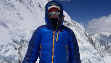 Steve Plain on Everest before the ascent that completed the seven summits in a record 117 days.
