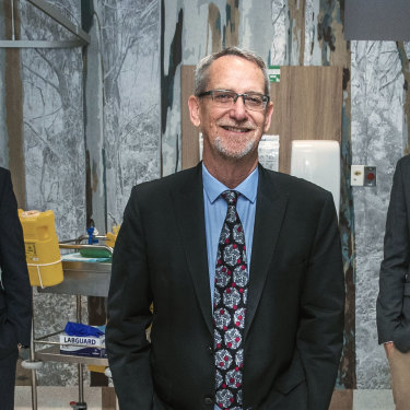 Professors Trent Munro (left) and Keith Chappell (right) with Professor Paul Young (centre),  who are leading the team at the University of Queensland producing what looks like Australia's leading candidate for a coronavirus vaccine.
