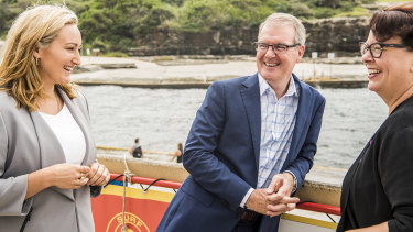 In the lead: Opposition Leader Michael Daley in Coogee with local candidate Marjorie O'Neill and Shadow Minister for the Environment Penelope Sharpe on Saturday.