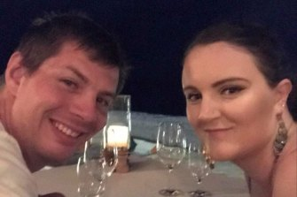 Amelia Williams and her partner Alex Knight-Colling when they got engaged in the Maldives in 2019.