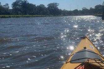 Kayaking on the Maribyrnong.