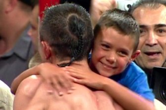 Tim Tszyu at ringside for dad Kostya's fight with Jesse James Leija in 2003 - the only fight Tim was ringside for.