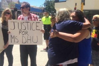 Ms Dhu's family members at a coronial inquest into her death in 2016.