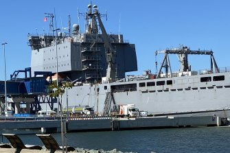 The Navy's HMAS Choules is the first ship to use the Brisbane International Cruise Terminal.