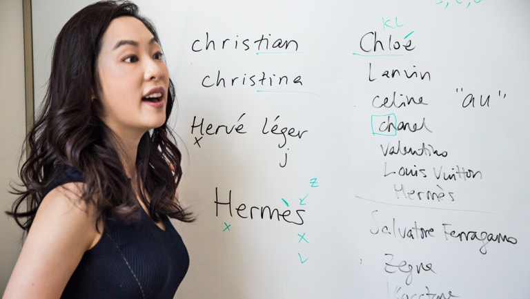 Sara Jane Ho teaches a two-week class that costs $16,000 for students who want to learn to properly pronounce foreign luxury brands like Hermes and Givenchy