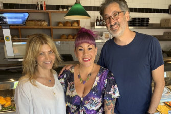 Maria Lewis (centre) with the film's writer-director team Deborah Kaplan and Harry Elfont.