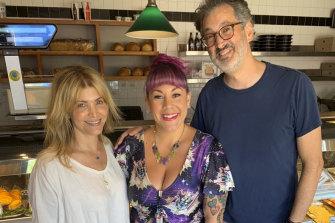 Maria Lewis (centre) with the film's writer-director team Deborah Kaplan and Harry Elfont.