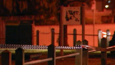 Police tape near the scene of the crime in Thornbury.