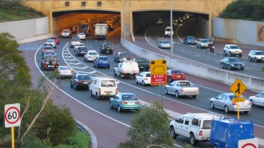 The Graham Farmer Freeway tunnel was closed on Monday.
