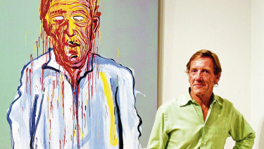 Capon stands next to his portrait by Adam Cullen entered for the 2006 Archibald prize.