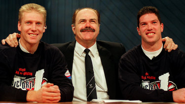 Flashback: Leigh Matthews as Victorian coach with Matthew Knights and Rohan Smith.