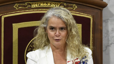 Then Canada's governor-general Julie Payette delivers the throne speech in the Senate chamber in Ottawa, Ontario, last year.