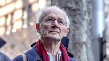 John Shipton, the father of Julian Assange, attends a rally outside the British consulate in Melbourne.