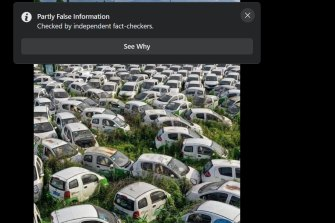 A viral image of an electric car cemetery, purportedly in France, has gone viral. It is typical of the increasing number of images that are either being altered, faked or used out of context. The image was taken in China and not France and was labelled partly false by Facebook.