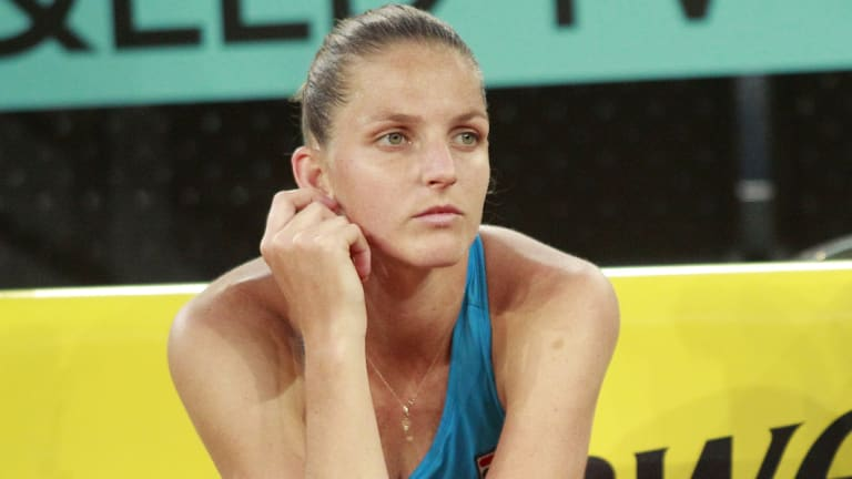 Not happy: Karolina Pliskova took her frustration out on an umpire's chair.