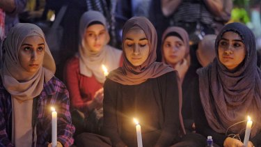 People gathered at the Melbourne vigil, to remember those killed in Christchurch.