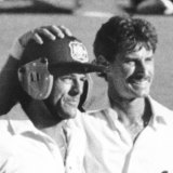 Richard Hadlee congratulates Michael Whitney after the Boxing Day draw in 1987.