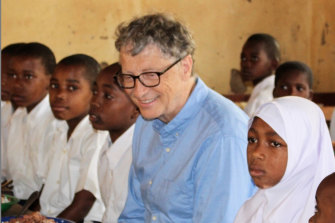 "Bill Gates in Tanzania in 2017.  At such places, he says, ""I wish others could come along and get to meet the people I get to meet."""
