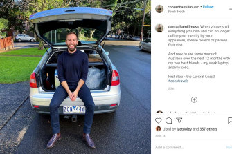 The Instagram post Conrad shared on the day of his departure with his car packed up.