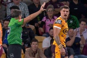 Brisbane's Jordan Riki gets sent to the sin bin.
