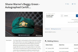 The cap for sale on Friday morning.